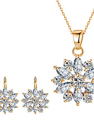 cheap -Women's Cubic Zirconia Bridal Jewelry Sets Geometrical Flower Fashion Imitation Diamond Earrings Jewelry White / Gold / Rainbow For Gift Daily 1 set