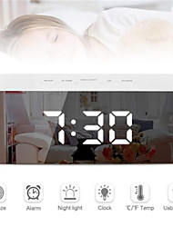 cheap -Digital LED Alarm Clock Mirror Night Light Big LCD Display Electronic Table Clock with thermometer Snooze Function Desktop
