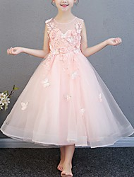 cheap -Ball Gown Ankle Length Pageant Flower Girl Dresses - Polyester Sleeveless Jewel Neck with Beading / Appliques