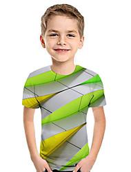 cheap -Kids Boys' Active Street chic Geometric 3D Patchwork Print Short Sleeve Hoodie & Sweatshirt Rainbow