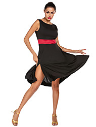 cheap -Latin Dance Dresses / Flamenco Women's Training / Performance Stretch Satin / Milk Fiber Sash / Ribbon Sleeveless Natural Dress