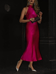 cheap -Sheath / Column High Neck Ankle Length Satin Hot / Pink Cocktail Party / Holiday Dress with Pleats 2020