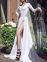 cheap -Mermaid / Trumpet V Neck Chapel Train Satin Long Sleeve Wedding Dresses with Split Front 2020