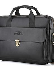 cheap -Men's Bags Cowhide Laptop Bag Briefcase Top Handle Bag Belt Zipper Solid Color Handbags Daily Office & Career Black Brown