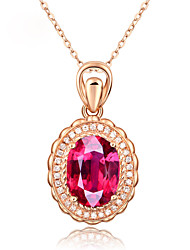 cheap -Pendant Necklace Women's Classic AAA Cubic Zirconia Fuchsia Gold Plated Mini Classic Cute Rose Gold 45 cm Necklace Jewelry 1pc for Daily