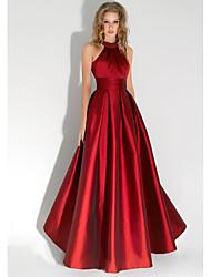 cheap -A-Line Elegant Prom Formal Evening Dress Halter Neck Sleeveless Floor Length Satin with Beading 2020