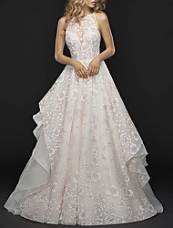 cheap -A-Line Jewel Neck Court Train Chiffon / Tulle Spaghetti Strap Wedding Dresses with Embroidery / Appliques 2020