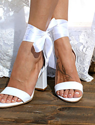 cheap -Women's Wedding Shoes Chunky Heel Open Toe Ribbon Tie Satin Sweet / Minimalism Walking Shoes Summer / Spring & Summer White