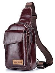 cheap -Men's Sequin Cowhide Sling Shoulder Bag Solid Color Black / Coffee