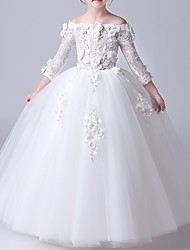 cheap -Ball Gown Floor Length First Communion Flower Girl Dresses - Polyester 3/4 Length Sleeve Off Shoulder with Beading / Appliques