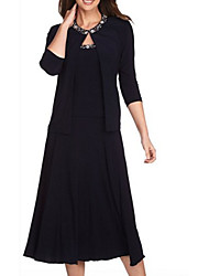 cheap -Two Piece Mother of the Bride Dress Elegant Jewel Neck Tea Length Chiffon Beaded Lace 3/4 Length Sleeve with Draping 2021