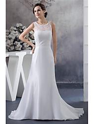 cheap -Sheath / Column Jewel Neck Court Train Lace / Satin / Taffeta Regular Straps Wedding Dresses with Lace Insert 2020