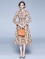 cheap -Women's Yellow Dress Elegant Vintage Daily Wear Festival A Line Geometric Shirt Collar Print S M