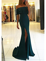 cheap -Sheath / Column Off Shoulder Court Train Jersey Furcal Prom Dress with Split Front 2020