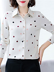 cheap -Women's Daily Work Basic / Chinoiserie Shirt - Polka Dot Print Black