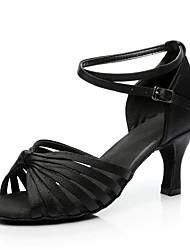 cheap -Women's Dance Shoes Satin Latin Shoes Heel Cuban Heel Customizable Black / Brown / Leopard