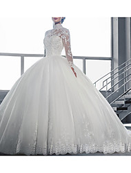 cheap -A-Line High Neck Sweep / Brush Train Tulle Cap Sleeve Made-To-Measure Wedding Dresses with Appliques 2020
