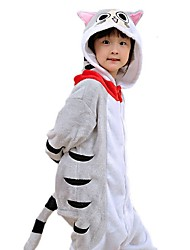 cheap -Kid's Kigurumi Pajamas Cat Tiger Onesie Pajamas Flannelette Yellow / Gray Cosplay For Boys and Girls Animal Sleepwear Cartoon Festival / Holiday Costumes