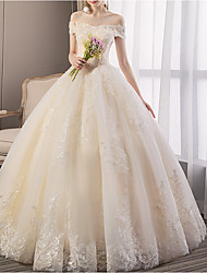 cheap -A-Line Wedding Dresses Off Shoulder Floor Length Tulle Regular Straps Glamorous Illusion Detail with Beading Appliques 2020