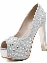 cheap -Women's Heels Glitter Crystal Sequined Jeweled Chunky Heel Round Toe / Peep Toe Rhinestone Leatherette Novelty / Club Shoes Spring / Summer Silver / Black / Wedding / Party & Evening / EU39
