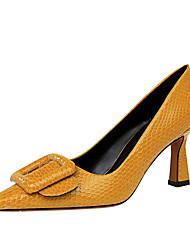 cheap -Women's Heels Flared Heel Pointed Toe Button Patent Leather Business / Vintage Spring &  Fall / Spring & Summer Black / Nude / Yellow / Party & Evening