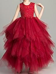 cheap -Ball Gown Floor Length Flower Girl Dress - Polyester Sleeveless Jewel Neck with Tier