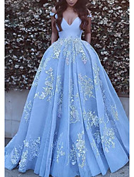 cheap -Ball Gown Off Shoulder Chapel Train Tulle Luxurious / Blue Quinceanera / Formal Evening Dress with Pleats / Appliques 2020