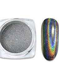 cheap -0.5g/box Rainbow Holographic Nail Glitter Powder Mirror Pigment Chrome Shining Silver Nail Dust for Nail Tips Nail Art Decoration