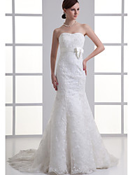 cheap -Mermaid / Trumpet Sweetheart Neckline Chapel Train Lace / Satin Strapless Wedding Dresses with Lace / Sashes / Ribbons / Bow(s) 2020