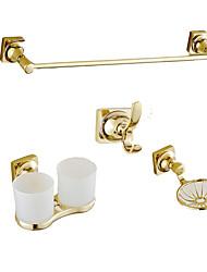 Недорогие -набор аксессуаров для ванной комнаты в современном стиле / классическая латунь 4шт - вешалка для полотенец / чашка для зубной щетки / крючок для одежды / мыльница настенная