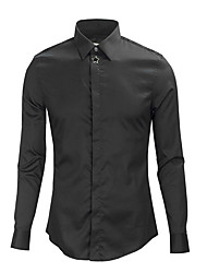cheap -Men's Daily Shirt - Solid Colored Black