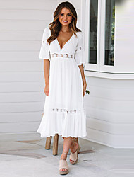 cheap -Women's Maxi White Dress Elegant Street chic Date Festival Swing Solid Colored Deep V Lace Pleated Patchwork S M