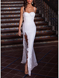 cheap -A-Line Spaghetti Strap Floor Length Lace Furcal / Elegant Formal Evening Dress with Split Front / Pleats 2020