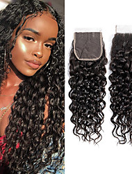 cheap -Brazilian Hair / Vietnamese Hair 4x4 Closure Curly 3 Part Swiss Lace Virgin Human Hair / Remy Human Hair Women's Dailywear