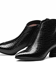 cheap -Women's Boots Chunky Heel Pointed Toe Patent Leather Mid-Calf Boots Fall & Winter Black / Burgundy