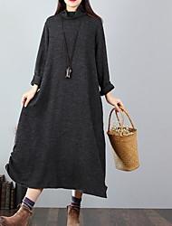 cheap -Women's Sweater Dress - Solid Colored Wine Green Dark Gray M L XL XXL