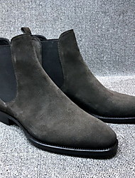 cheap -Men's Comfort Shoes Suede Fall & Winter Boots Booties / Ankle Boots Black / Yellow / Gray