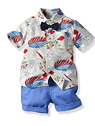 cheap -Kids Boys' Basic Geometric Short Sleeve Clothing Set White