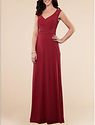 cheap -A-Line V Neck Floor Length Chiffon / Lace Elegant / Red Wedding Guest / Formal Evening Dress with Draping / Lace Insert 2020