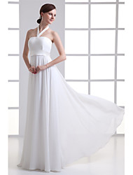 cheap -A-Line Halter Neck Floor Length Chiffon / Satin Strapless Made-To-Measure Wedding Dresses with Beading / Draping 2020