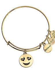 cheap -Women's Bracelet Bangles Earrings / Bracelet Pendant Bracelet Classic Alphabet Shape Heart Laugh Simple Classic Cartoon Trendy Fashion Alloy Bracelet Jewelry Gold / Silver For Gift Daily School