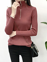 cheap -Women's Solid Colored Long Sleeve Pullover Sweater Jumper, High Neck Black / White / Red One-Size