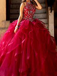 cheap -A-Line Elegant Prom Formal Evening Dress Jewel Neck Sleeveless Floor Length Tulle with Crystals 2020