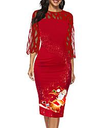 cheap -Women's Sheath Dress - Geometric Red M L XL XXL