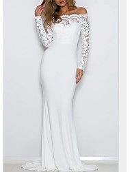 cheap -Sheath / Column Off Shoulder Sweep / Brush Train Lace / Jersey Long Sleeve Formal See-Through / Modern / Illusion Sleeve Wedding Dresses with Lace Insert 2020