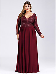cheap -A-Line Plunging Neck Floor Length Polyester / Nylon Long Sleeve Plus Size Mother of the Bride Dress with Ruching 2020