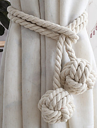 cheap -1 Pair Hand-knitted Curtain Rope Country Cotton Tie Window Tracery Ball Handmade Woven Cotton Tie Strap Hanging Ball