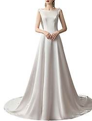 cheap -A-Line Bateau Neck Sweep / Brush Train Satin Regular Straps Made-To-Measure Wedding Dresses with 2020