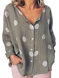 cheap -Women's Daily Basic Shirt - Polka Dot Patchwork White