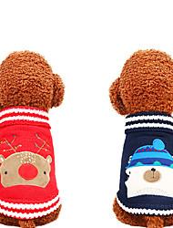 baratos -Cachorros Súeters Inverno Roupas para Cães Vermelho Azul Escuro Ocasiões Especiais Tecido Felpudo Animal Natal Fantasias Natal XS S M L XL
